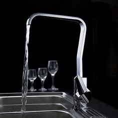 Modern Solid Brass Kitchen Faucet (Chrome Finish)
