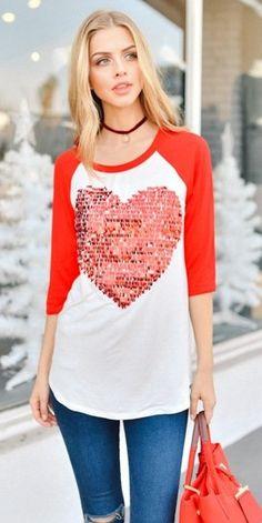 The Julietta - Heart Sequined Women's Plus Size Top