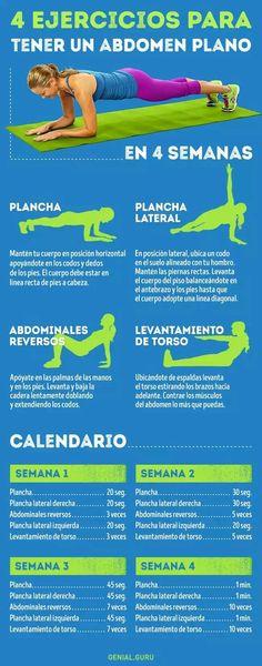 4 ejercicios para tener un abdomen plano en 4 semanas