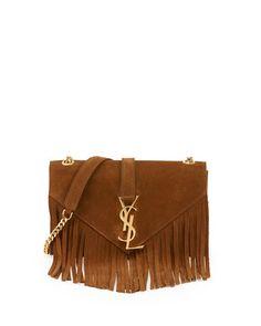 V2FE7 Saint Laurent Monogramme Suede Fringe Shoulder Bag