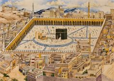 A view of the Ka'ba and surrounding buildings in Mecca. Painted by Mahmud Malik Possibly 1293 AH (1876-1877 CE) Watercolours on paper This painting was commissioned by a Qajar prince, Farhad Mirza, son of Abbas Mirza and grandson of Fath 'Ali Shah. It has been suggested that it was made by Mahmud to celebrate the return of Farhad Mirza from the Hajj in 1293 AH (1876-1877 CE).