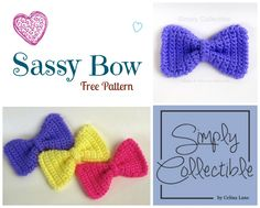 Sassy Bow FREE Pattern | Embellish nearly anything in just under 60 minutes including interruptions | SimplyCollectibleCrochet.com