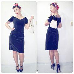 Black 1940s Inspired 1980s Velvet Pinup Dress by OldSoulWares