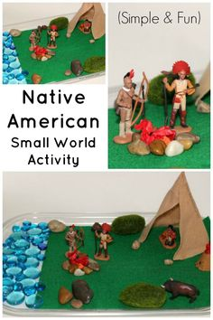 Native American Small World Play Sensory Bin for Preschoolers! Easy pretend play activity to learn about Indians.