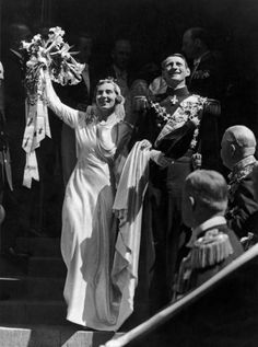 Crown Prince Frederik of Denmark (King Frederik 9) and Crown Princess Ingrid (Queen Ingrid) on their wedding-day in 1935.