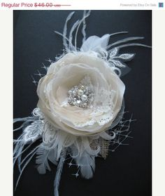 Bridal hair accessories, wedding hair flower, natural burlap fascinator, Lace wedding headpiece, vintage Ivory Beige Champagne Tan, tulle on Etsy, $42.07 CAD