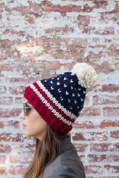 American Flag Beanie Fair Isle Beanie USA by BoPeepsBonnets