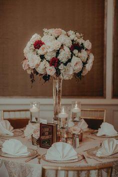 Gatsby Inspired Wedding - Gorgeous Floral Arrangement - Stunning Centerpiece - Table Decor - Place Setting - Art Deco Wedding