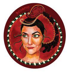 Scorpio Zodiac 5x7 Acrylic Fantasy Art Portrait by LauraGraceArt