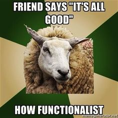 Friend says 'It's all good.'    How functionalist    [click on this image to find a short clip and functionalist analysis of global society]