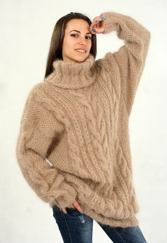 Hand Knit Mohair Sweater Soft Warm Thick Creamy Brown