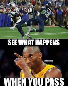 Kobe Bryant's thoughts on the Seahawks' last PASS attempt during Super Bowl! Kobe Memes, Funny Nba Memes, Funny Basketball Memes, Football Jokes, Nfl Memes, Basketball Pictures, Basketball Quotes, Soccer Humor, Patriots Memes