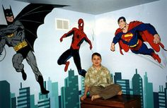"""The Super Heroes   72"""" x 120""""  across two wall   Location: Private residence"""
