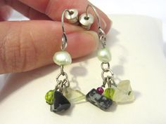 Vintage sterling silver Mixed Gemstone & Pearl by wandajewelry2013