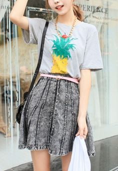 """$26.99 Style: Leisure  Heat:  Pineapple Print  Color: Gray  Material:  Size: One Size: Shoulder: 41CM(16.14"""" )  Sleeve Length: 21CM(8.27"""" ) Bust: 100-108CM(39.37""""-42.52"""" ) Length: 64CM(25.20"""" )   In this hot summer, how about have a pineapple to make you cool? And how about have a pineapple pr..."""