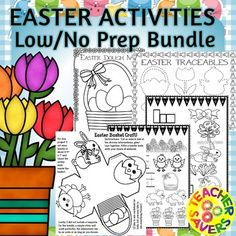 Easter ActivitiesEaster Activities Bundle 53 pages of fantastic activities to engage your students.One-of-a-Kind (original artwork) Easter themed Coloring pages (7 unique designs)Block Graphing Easter ActivityEaster Basket Craft (Color, Decorate, Cut, Assemble, Glue)3 Interactive Abacus Easter Style.