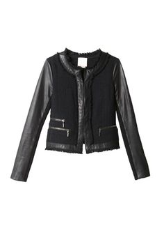 Tweed Jacket -Toughened-up sophistication, this chic jacket marries a timeless tweed with leather and zip detailing. Hook-bar front closure.(lethimydung-fd1a1)