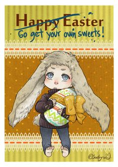 """HAPPY EASTER TO EVERYONE!!! :) Bunny-John. And he looks like England from Hetalia lol. I realize it when I started to color John's hair """" He looks familiar.. SHIT."""" : DDDDD"""