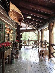 The cabin porch