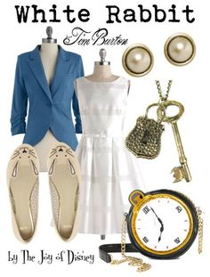 Outfit inspired by the White Rabbit from the Tim Burton version ofAlice in Wonderland!