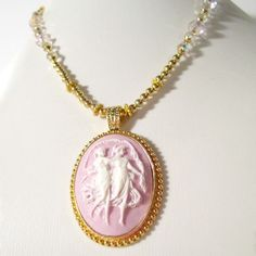 Cameo Jewelry Lavender Cameo Pendant Cameo Necklace by cdjali, $24.00