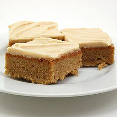 Peanut Butter Cinnamon Blondies with Peanut Butter Frosting