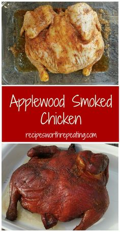 Smoking a chicken is EASY Wow your tastebuds with this melt-in-your-mouth Applewood Smoked Chicken Prepped with a brown sugar smoky paprika and garlic based rub this smoked chicken tastes amazing smoker smokedmeat chicken Apple applewood wholechicken Smoked Chicken Recipes, Smoked Whole Chicken, Stuffed Whole Chicken, Chicken Smoker Recipes, Smoked Chicken Brine, Venison Recipes, Sausage Recipes, Pellet Grill Recipes, Barbecue