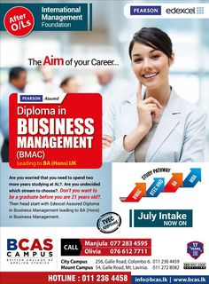 Diploma in Business Management  BCAS Campus  via Smart eLanka https://www.facebook.com/SmarteLanka/photos/a.141167042705217.30512.141052836049971/630181773803739/?type=3