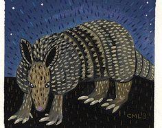Midnight Armadillo Print