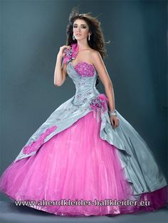 One Shoulder Abendkleid Ballkleid in Pink Silber