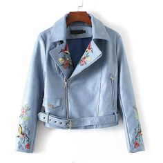 Chicnova Fashion PU Biker Jacket featuring polyvore, women's fashion, clothing, outerwear, jackets, floral print jacket, moto jacket, blue jackets, collar jacket and floral jacket