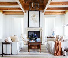 two linen slipcovered sofas