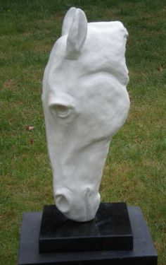 Marble resin or iron resin Animal Busts and Heads For Sale or Commission Sculptures #sculpture by #sculptor Christine Close titled: 'Headstand (marble resin Horse Head Sculptures)' £650 #art