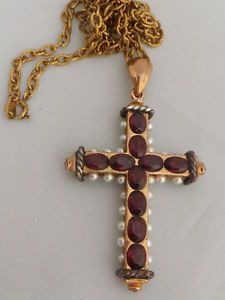 Fine Victorian Austro Hungarian Garnet and Pearl gold cross pendant on chain