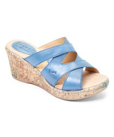 Look at this #zulilyfind! Blue Aundrea Leather Wedge Sandal by b.o.c #zulilyfinds