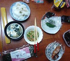 豆ご飯 味噌汁 納豆 味付け海苔 漬け物
