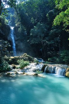 Luang Prabang, Laos. Most amazingly beautiful waterfall I have ever seen! can't begin to describe the color of the water!