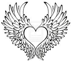 small angel wings with heart tattoo - Google Search