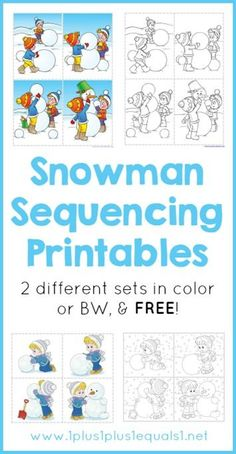 Snowman Sequencing Printables free from @1plus1plus1