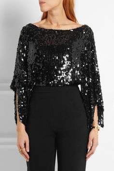 Black sequined stretch-knit Slips on polyester, viscose Dry clean Sonia Rykiel, Diane Von Furstenberg, Black Sequins, Sweater Fashion, High Waisted Skirt, Ruffle Blouse, Knitting, Skirts, Women