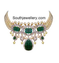 Pearls Choker with Diamond Emerald Pendant photo