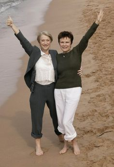 Helen Mirren & Julie Walters - two fab ladies hanging out at the seashore.