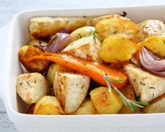 Crispy Roasted Root Vegetables with Vegan Queso Marinated Vegetables, Roasted Root Vegetables, Veggies, Roasted Vegetable Medley, Roasted Vegetable Recipes, Fall Recipes, Dinner Recipes, Vegan Queso, Cooking Recipes