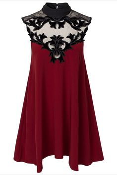 Love this Dress Design! Love the Back! Wine Red and Black High Neck Sleeveless Contrast Mesh Loose Dress