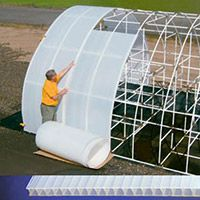 These twinwall plastic panels are 3.5mm thick and made of high density polyethylene infused with UV inhibitors for a warrantied life of at least 10 years. Solexx panels provide a soft, diffused light allowing 70-75% of the natural light to pass through for optimal growing conditions. Available in either 400' or 900' long rolls.
