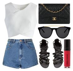 """street style"" by sisaez ❤ liked on Polyvore featuring Chicwish, Glamorous, Chanel, Smoke x Mirrors and Daniel Sandler"