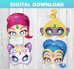 4 Shimmer and Shine printable masks Birthday Party pdf