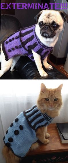 Free Knitting Pattern For Dalek Pet Sweater - Doctor Who , kostenloses strickmuster für dalek pet sweater - doctor who , patron de tricot gratuit pour chandail pour animaux de compagnie dalek - doctor who Dog Sweater Pattern, Crochet Dog Sweater, Jumper Knitting Pattern, Knitted Cat, Knitting Patterns For Dogs, Free Knitting, Knitting Projects, Animal Sweater, Cat Sweaters