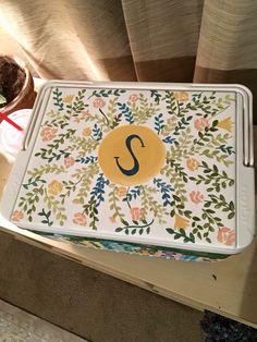 monogram floral sorority cooler