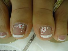 62 Ideas french pedicure designs toenails polka dots for 2019 Flower Pedicure Designs, French Pedicure Designs, Toe Nail Designs, Flower Designs, Pedicure Nail Art, Toe Nail Art, Nail Manicure, Pedicure Ideas, Diy Nails